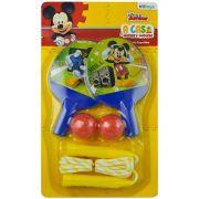 Kit Esporte com 2 Raquetes e 2 Bolinhas de Ping Pong e 1 Pula Corda Mickey Disney