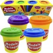 Kit Massinha de Modelar Modele e Brinque com 4 Potes - DM Toys