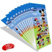 Kit Mickey Com 10 Cartelas de Adesivos Mickey e Minnie Disney