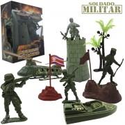 Kit Mini Soldados com Helicóptero e Lancha Operação Militar - Cim Toys