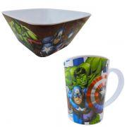 Kit Refeição com Caneca e Tigela Quadrada Vingadores Marvel