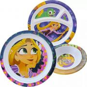 Kit Refeição Infantil com 2 Pratos e 1 Tigela Rapunzel Enrolados Princesas Disney Junior