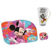 Kit Refeição Infantil com Caneca e Jogo Americano Mickey e Minnie Disney