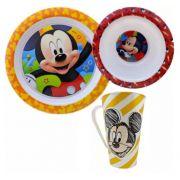 Kit Refeição Infantil com Prato, Tigela e Caneca Mickey Disney
