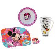 Kit Refeição Infantil com Tigela, Caneca e Jogo Americano Mickey e Minnie Disney