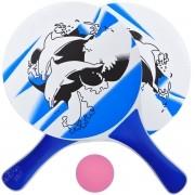 Kit Tênis de Praia Frescobol com 2 Raquetes de Madeira e Bolinha Rosa