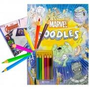 Livro Doodle Marvel Pintar E Colorir + Dominó Vingadores