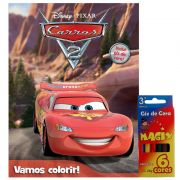 Livro + Kit Giz de Cera Vamos Colorir Carros Disney - DCL