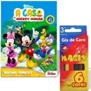 Livro Para Colorir Mickey Disney Mais 6 Giz De Cera