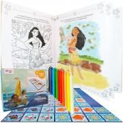 Livro Ler E Colorir Moana + 12 Gizes De Cera + Dominó Disney