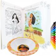 Livro Ler E Colorir Moana + 12 Gizes De Cera + Tigela Disney