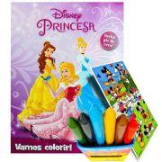 Livro Para Colorir Princesas Giz De Cera 6 Cores Mais Adesivo