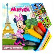 Livro Para Colorir Minnie Com 6 Giz De Cera Mais Adesivo