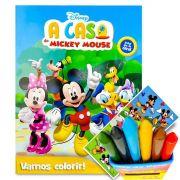 Livro Para Colorir Turma Do Mickey Com 6 Giz De Cera Mais Adesivo