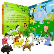 Menino Da Selva Com 14 Animal + Livro Quebra Cabeça Da Selva