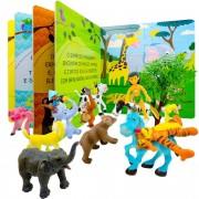 Menino Da Selva Com Reino Animal 14 Peças + Livro Quebra Cabeça