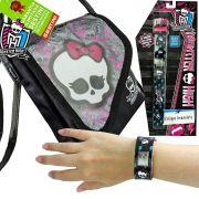 Monster High Relógio de Pulso Digital  mais Bolsinha  Skullete