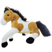 Pelúcia Cavalo Malhado Caramelo e Branco  Grande