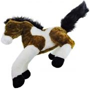 Pelúcia Cavalo Malhado Marrom e Branco Grande