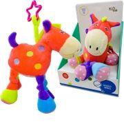 Pelúcia com Chocalho Infantil Cavalo Rosa Unik Toys