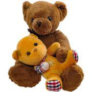 Pelúcia Mamãe Ursa com Filhote Ursinho Dodói