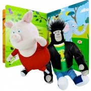 Pelúcia Ty Beanie Babies Gunter + Johnny +  Livro Quebra-cabeça