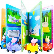 Peppa Pig 4 Carrinhos Com Bonecos + Livro Com Quebra Cabeças