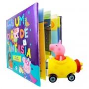 Peppa Pig Carrinho Com Boneco + Livro Dia De Fantasia