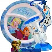 Prato Com Divisórias Frozen + Copo Giratório + Chaveiro Olaf