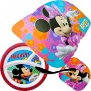 Prato Com Divisórias Mickey + Jogo Americano Minnie + Colher