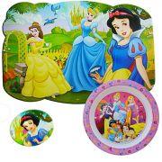 Prato Infantil Decorado E Jogo Americano Princesas Disney