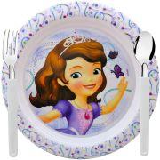 Prato Infantil Princesinha Sofia com Garfo e Colher Disney
