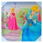 Quadro de Parede Infantil Cinderela e Aurora Princesas Disney