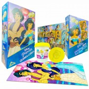 Quebra-cabeça 200 Pçs Aladdin + Jogo Memória Jasmine + Massa