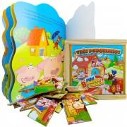 Quebra Cabeça De Madeira Os Três Porquinhos + Livro História