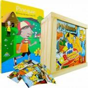 Quebra Cabeça Madeira Pinóquio + Livro Com 3 Quebra Cabeças