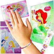 Quebra cabeça Sereia Ariel + Elástico de cabelo + Posters e Adesivo  Sacolinha Princesas Disney