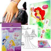 Kit Sereia Ariel com Quebra cabeça + Elástico de cabelo + Posters e Adesivo