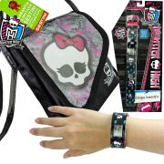 Relógio Digital Bracelete Monster High Mais Bolsa Skullete