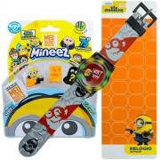 Relógio Digital De Pulso Infantil Minions + 3 Bonecos Minnez