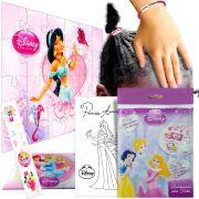 Sacolinha Divertida Jasmine c/ Elástico de Cabelo Princesas Disney + 4 Itens