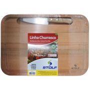 Tábua De Carne Churrasco Em Madeira 44x30x2cm com Faca Aço Inox