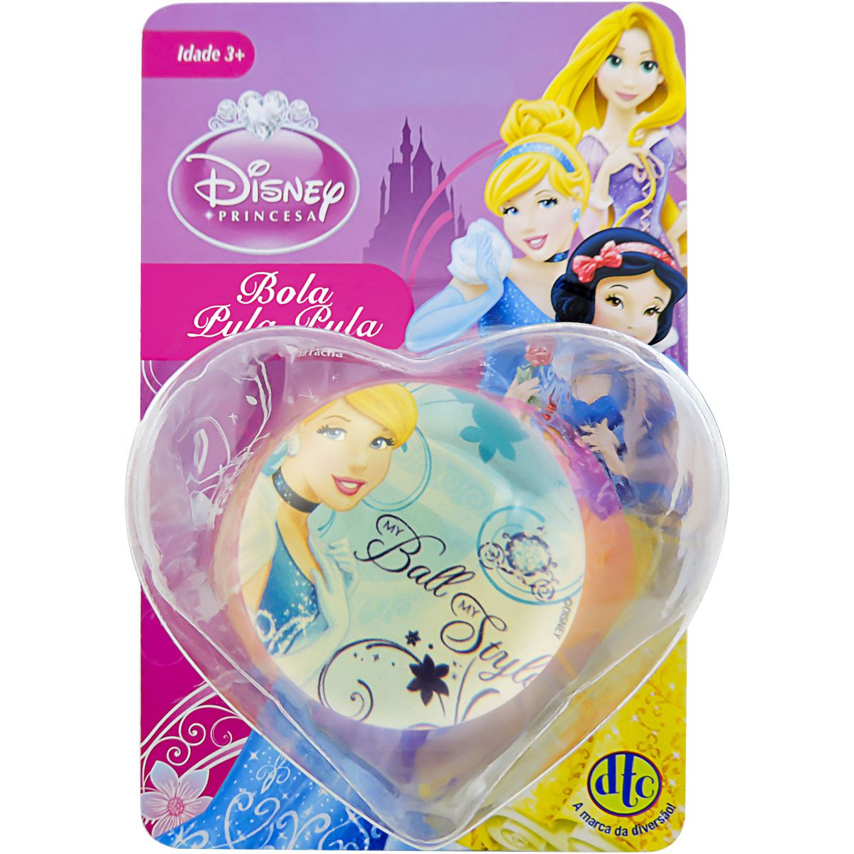 Bolinha de Silicone Importada com Cinderela Princesa Disney