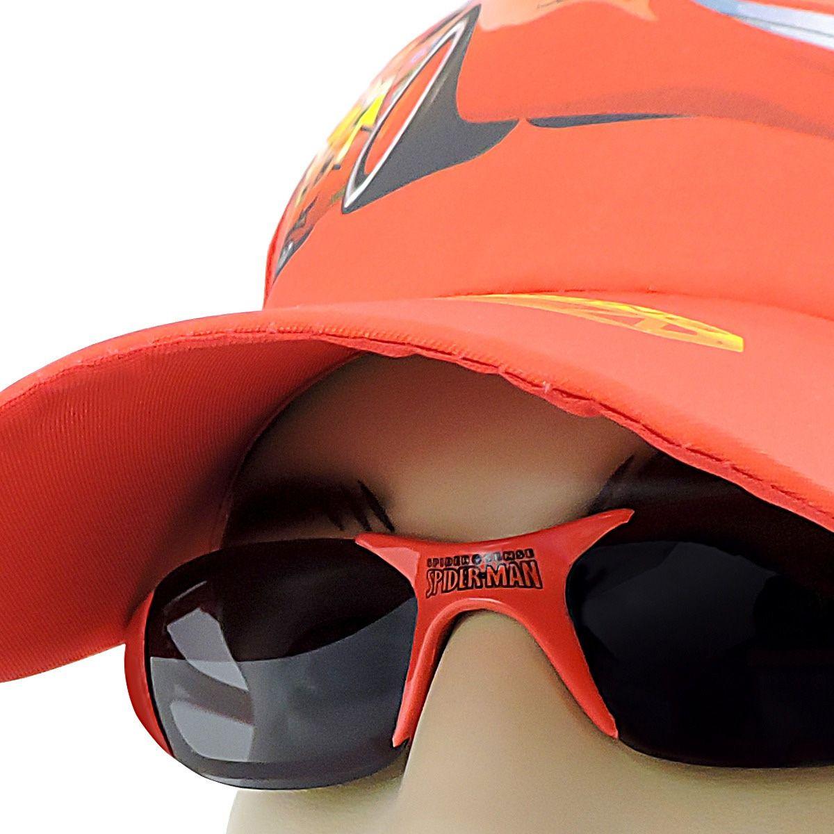 Boné Infantil Carros Mais Óculos De Sol Spider Man Marvel