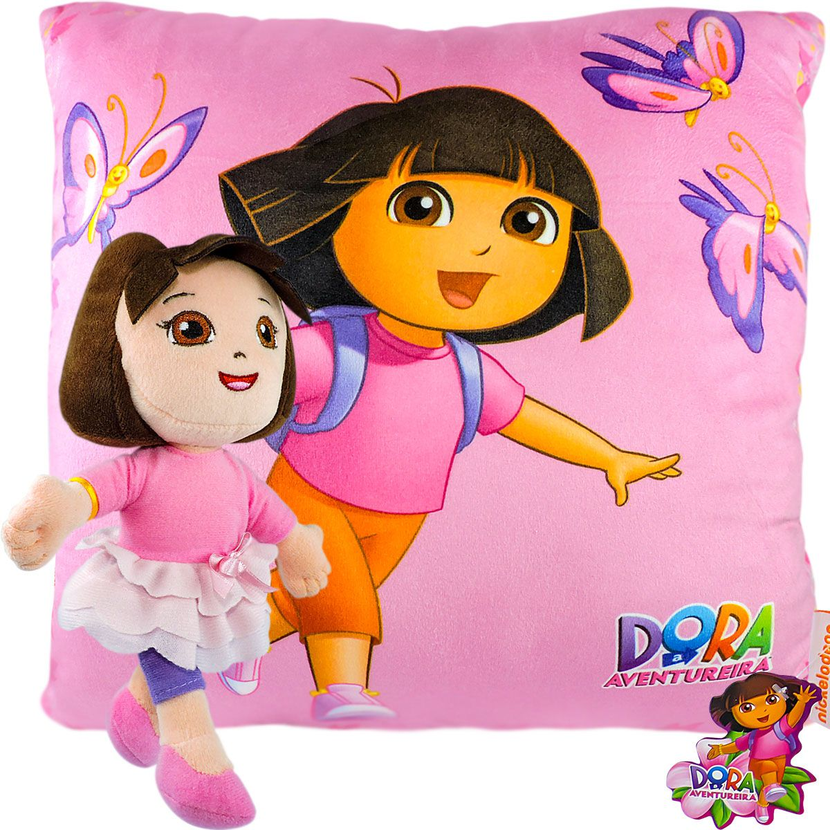 Boneca De Pelúcia E Almofada Infantil Dora Aventureira