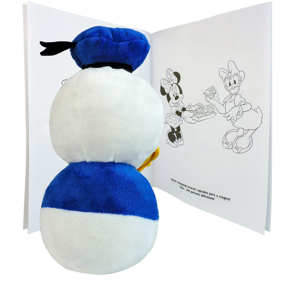 Boneco De Pelúcia Pato Donald e Revista para Colorir Disney