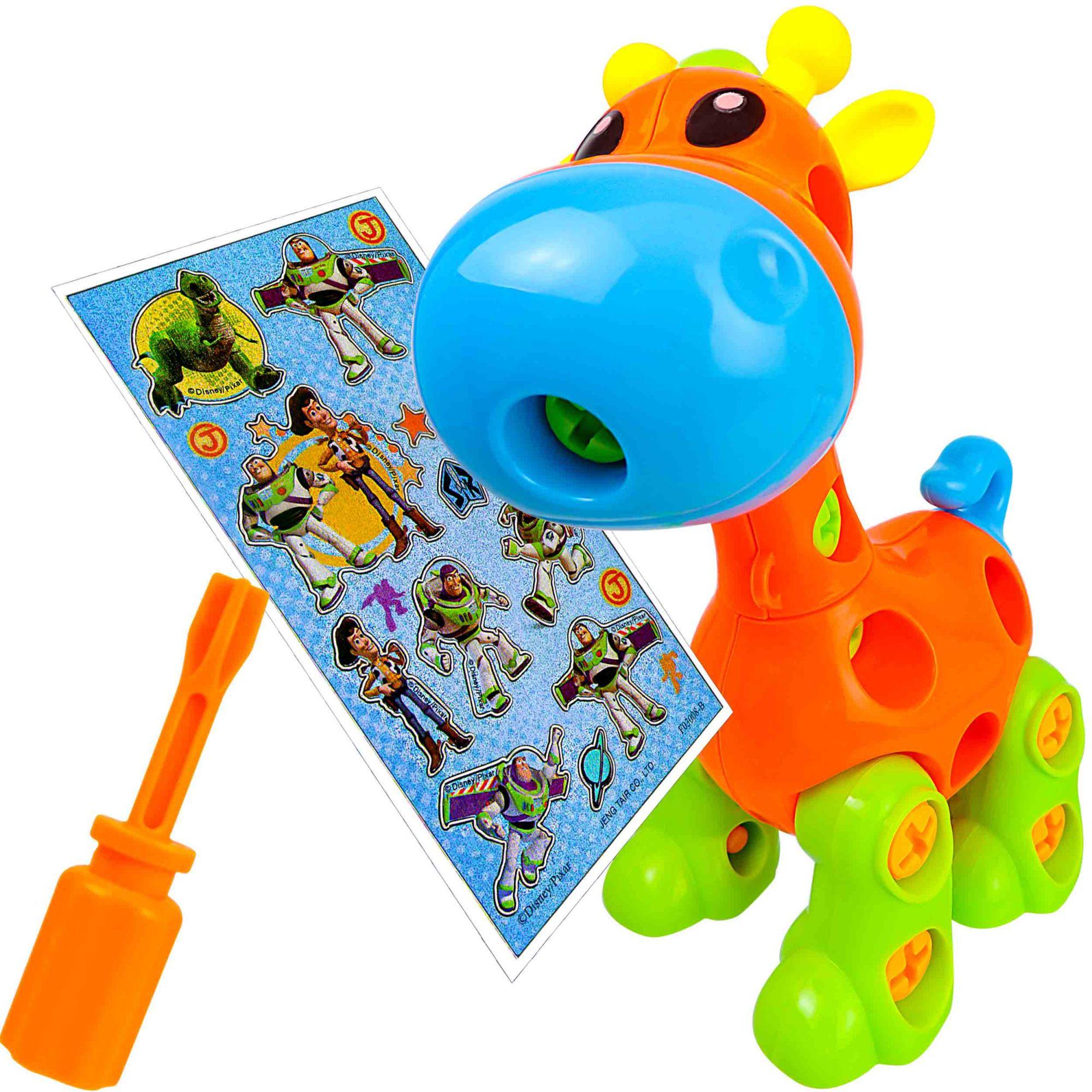 Brinquedo Didático Girafa Baby Monta E Desmonta + Adesivo