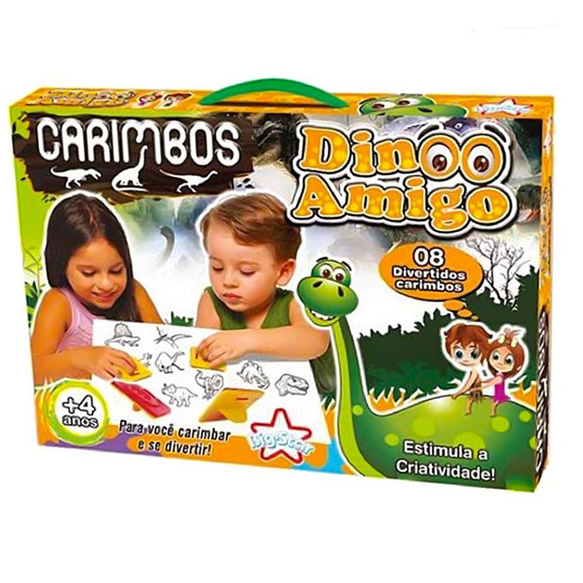 Coleção Com 8 Carimbos Infantil Dino Amigo Dinossauros - Big Star