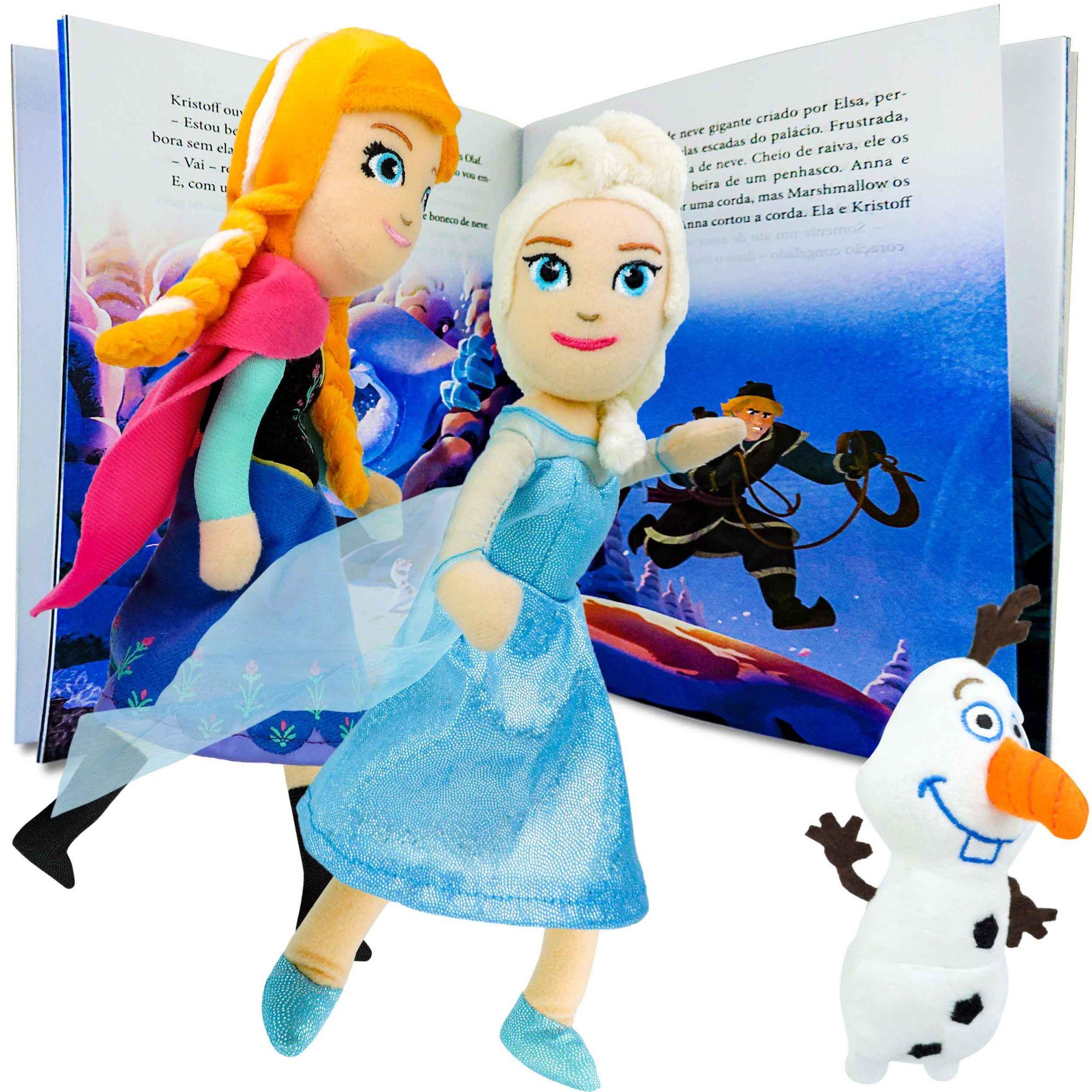 Coleção De Bonecas De Pelúcia Frozen Anna Elsa E Olaf +livro