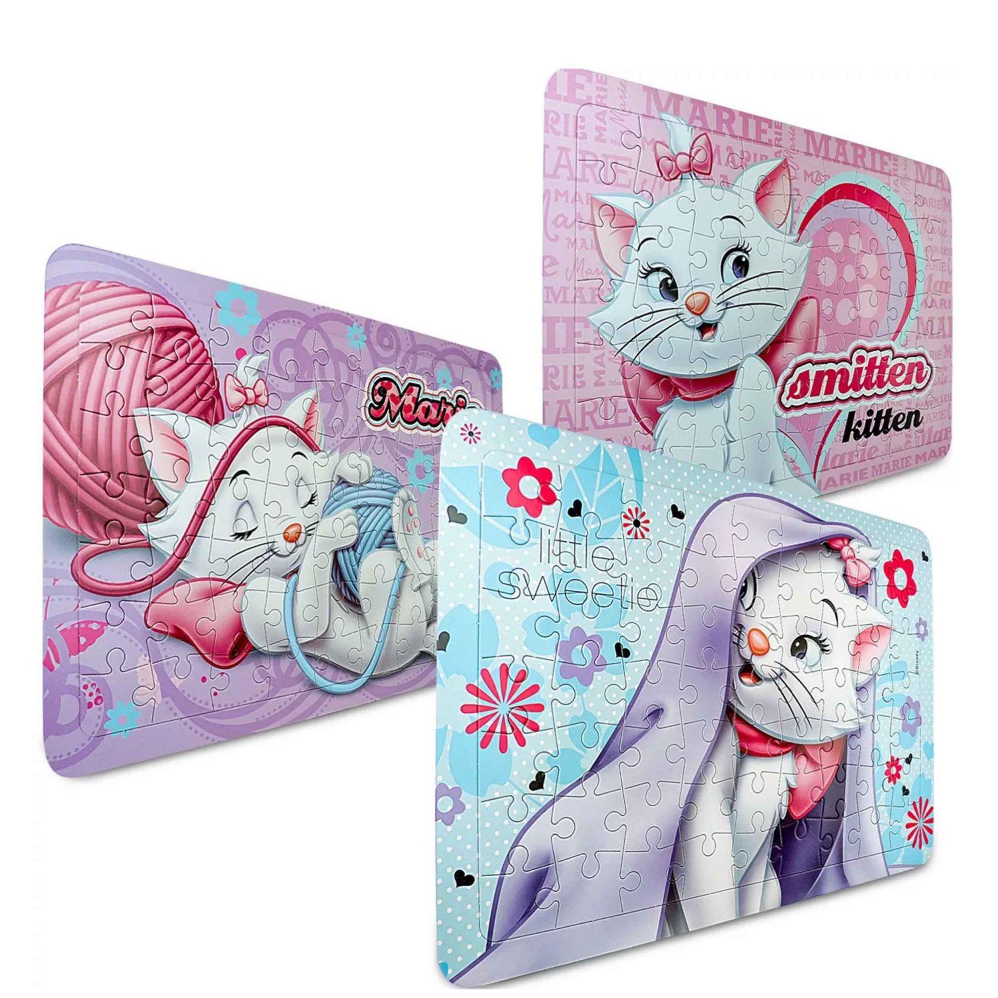 Coleção Gatinha Marie Disney 3 Quebra Cabeças Cartonados 189 Peças